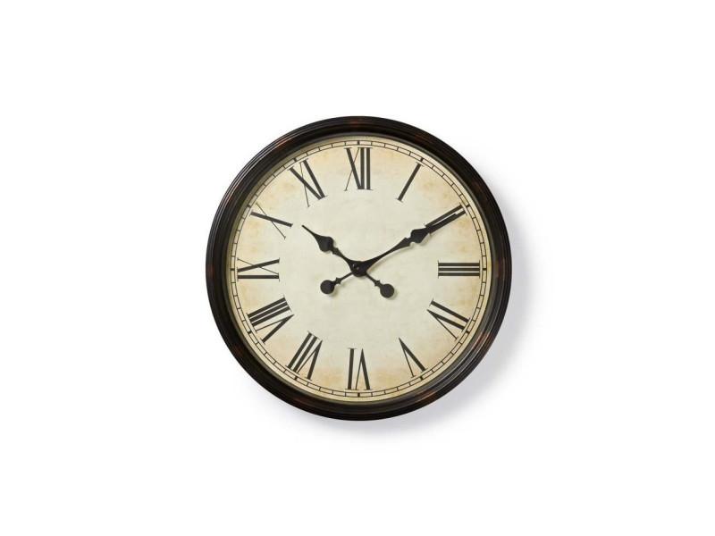 Nedis horloge murale circulaire - ø 50 cm - style ancien - noir