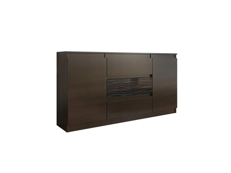 Albi 1w | commode contemporaine meuble rangement buffet chambre/salon/bureau | 140x40x76 | 3 tiroirs & 2 portes | fronts laqués | wenge/noir