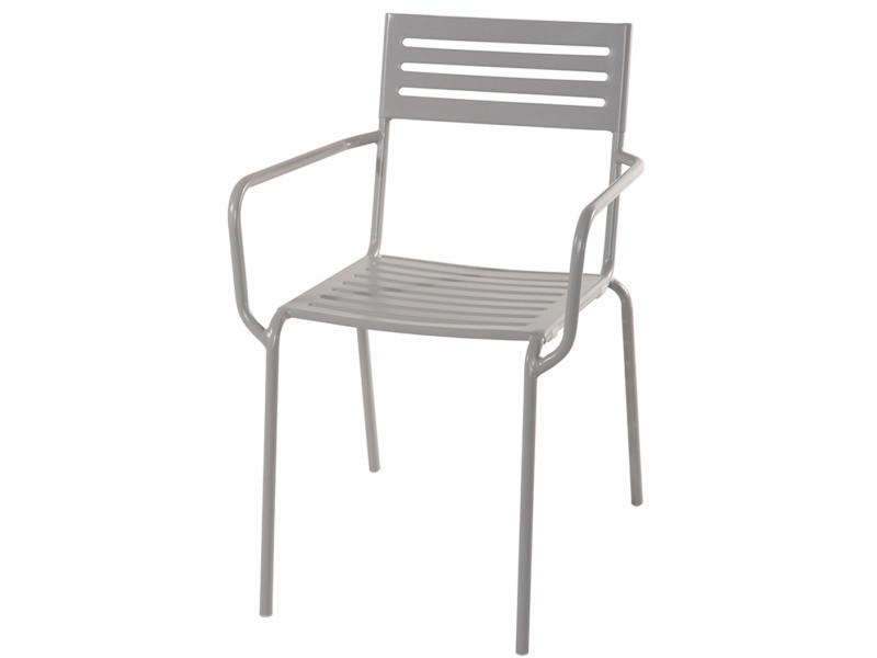 Chaise jardin en fer forgé coloris gris cendré. A usage professionnel - dim : h 80 x l 54 x p 60 cm -pegane-