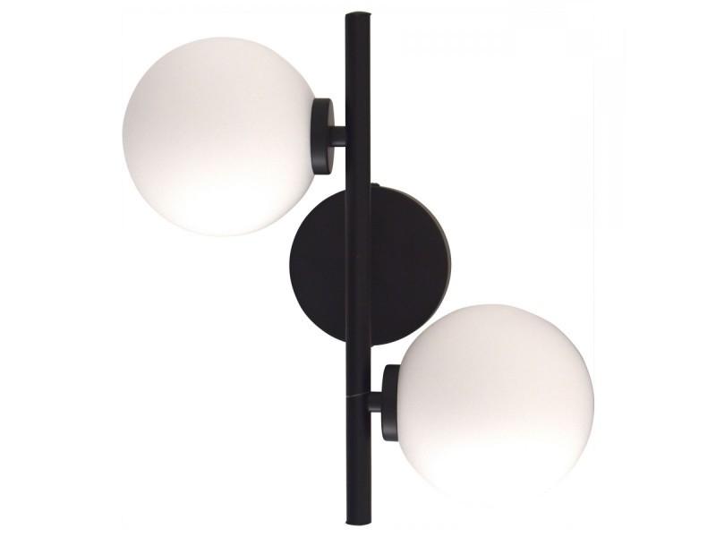 Applique murale rétro métal noir 2 globes