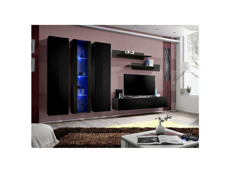 Ensemble meuble tv mural - fly iii - 310 cm x 190 cm x 40 cm - noir