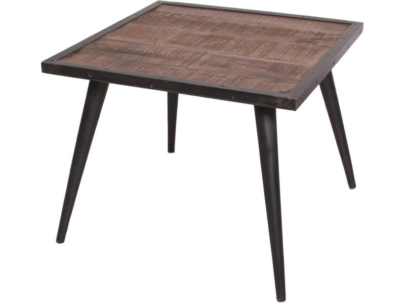 Table Basse Carrée Industrielle 60x60 Cm En Bois De Manguier Et Fer