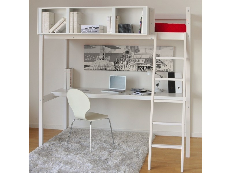 Lit mezzanine lou 90x190 + 1 sommier + bureau + rangement 3 niches / blanc
