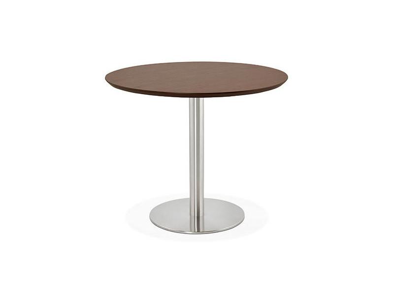 Table à manger ronde 90 cm plateau marron et pied en acier - bahia