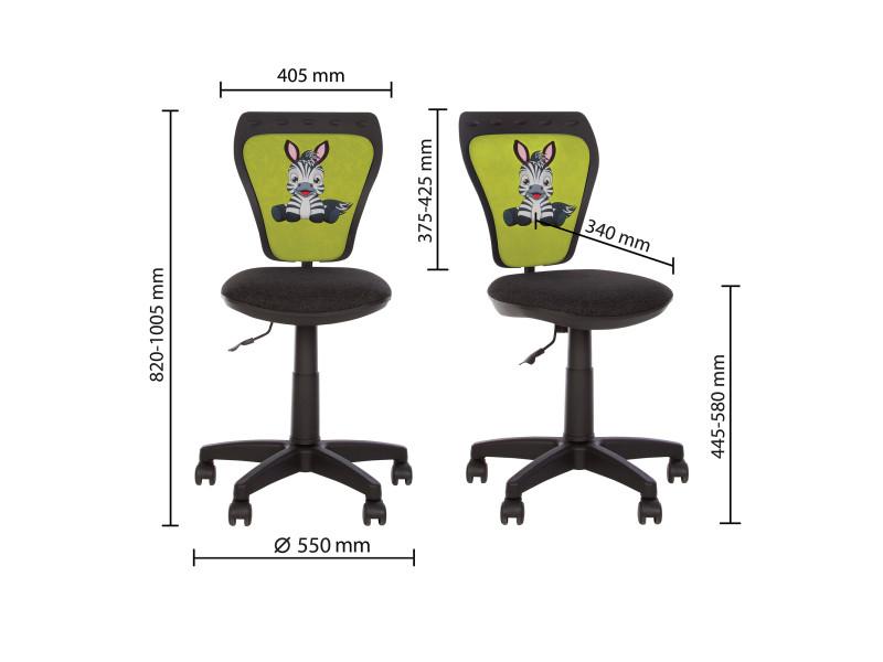 Ministyle zebre chaise de bureau pour enfant. En tissu