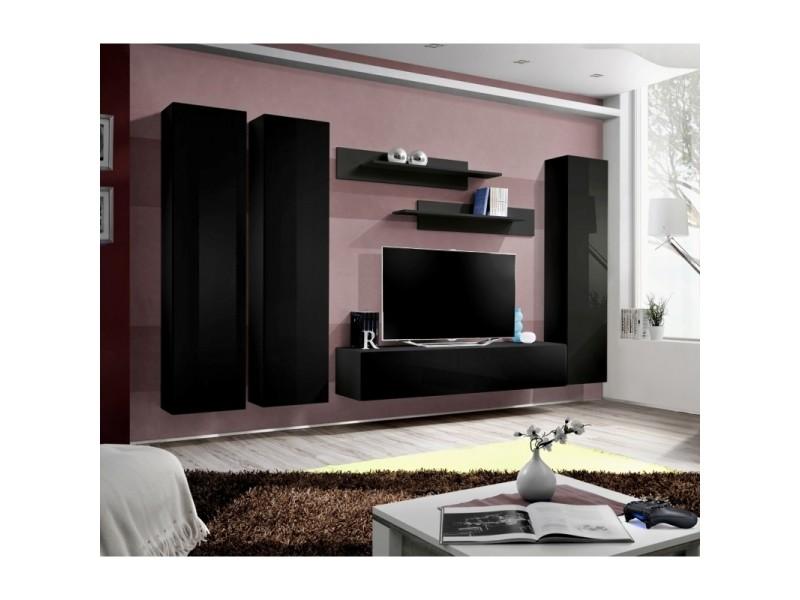 Ensemble meuble tv mural - fly i - 310 cm x 190 cm x 40 cm - noir