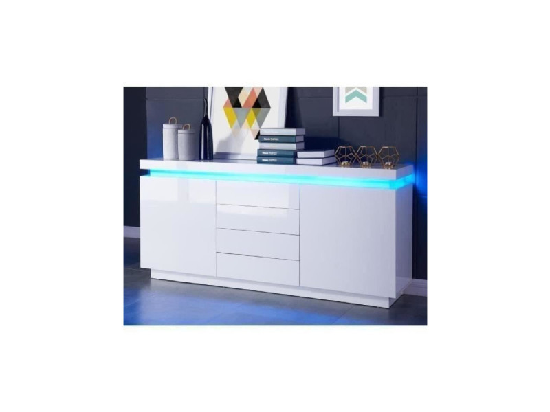 Flash buffet bas avec led contemporain blanc laqué brillant - l 175 cm FLASH01