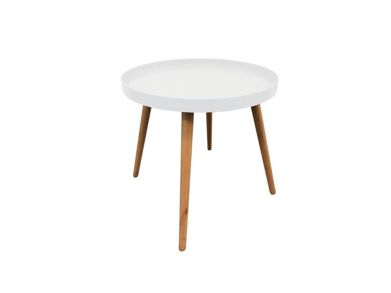 Table plateau ronde blanche vente de table basse - Table basse ronde conforama ...