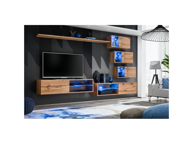 Ensemble meuble tv mural switch xxiv - l 260 x p 40 x h 170 cm - marron