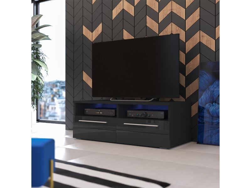 Meuble Tv Siena Avec Led 100 Cm Noir Mat Noir Brillant Vente