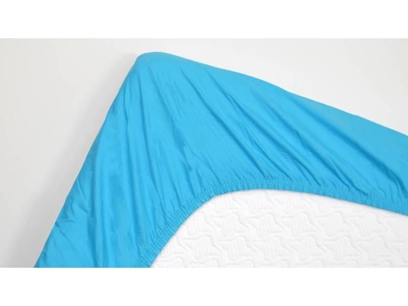 Snoozing - drap-housse en satin de coton - 140x220 cm - turquoise SMUL102166812