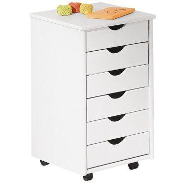 caisson blanc en bois massif sur roulettes avec 6 tiroirs vente de comforium conforama. Black Bedroom Furniture Sets. Home Design Ideas