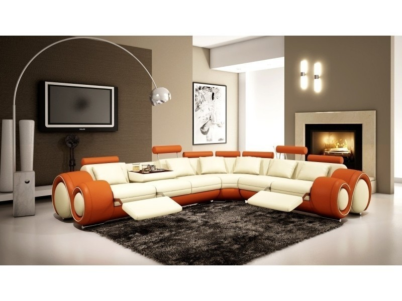 Canapé d'angle cuir blanc et orange + positions relax oslo (angle droite)-