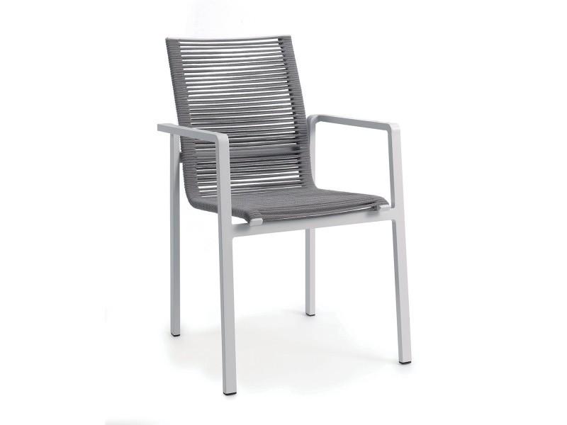 Chaise en aluminium blanc et corde textilène gris clair zebra