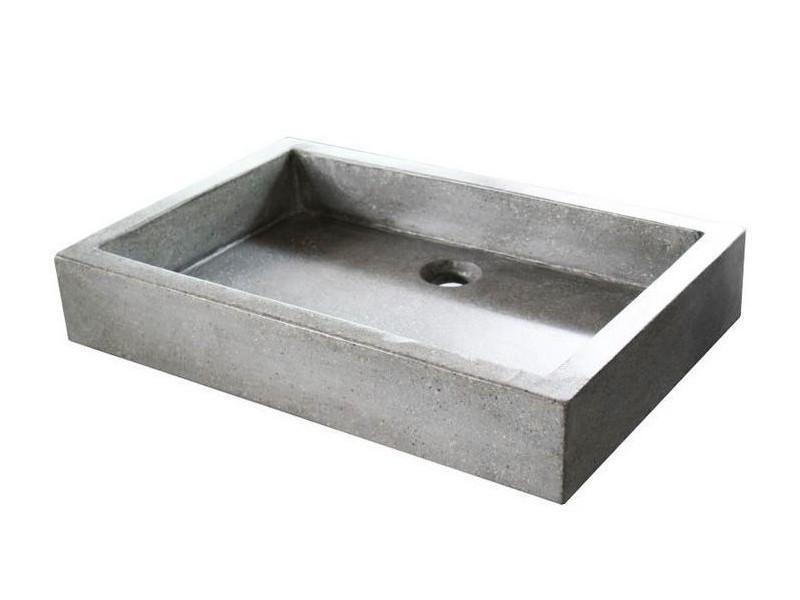 Aqua+ - vasque en terrazzo 60x40 gris ciment - timbre