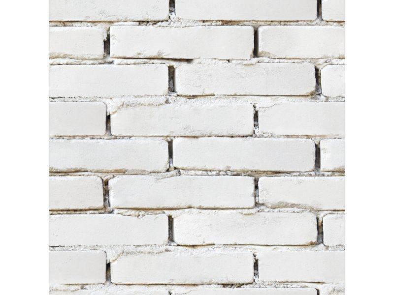 Papier peint intissé briquettes 1005 x 52cm blanc 105735