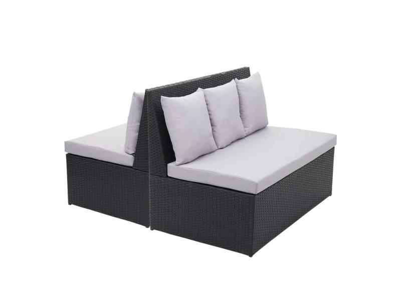 2x canapé en polyrotin, 2 places hwc-g16, banc, fauteuil, gastronomie, 120 cm ~ noir, coussin gris clair