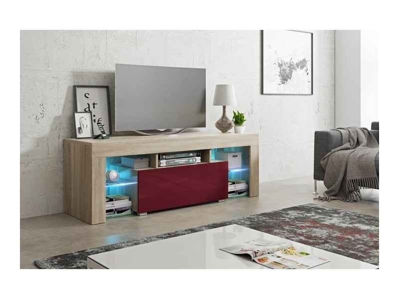 Meuble tv 130 cm sonoma et bordeaux led rgb