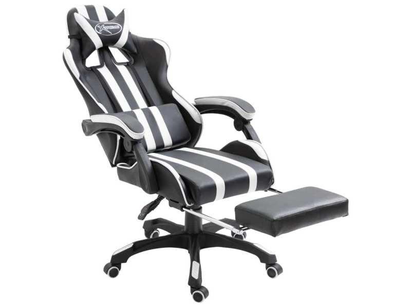 Vidaxl chaise de jeu avec repose-pied blanc pu 20221