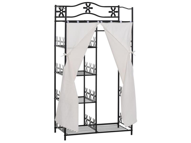Armoire penderie multi rangements 5 étagères 84l x 42l x 159h cm métal noir motif fleurs 2 rideaux blanc