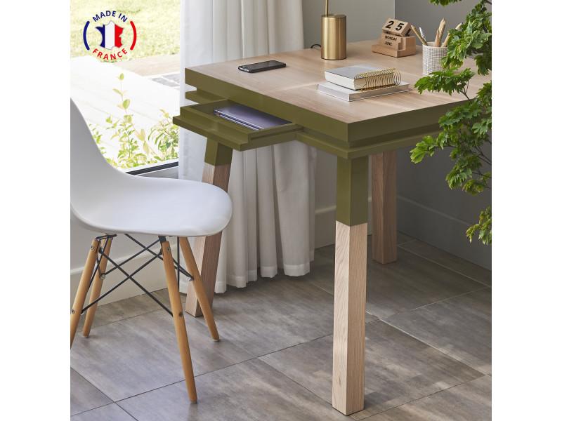 Bureau carré en bois massif avec tiroir vert lancieux - 100% made in france