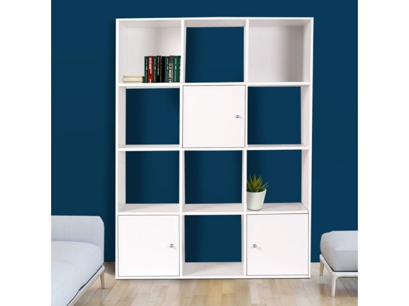 meuble de rangement cube 12 cases bois blanc avec 3 portes. Black Bedroom Furniture Sets. Home Design Ideas