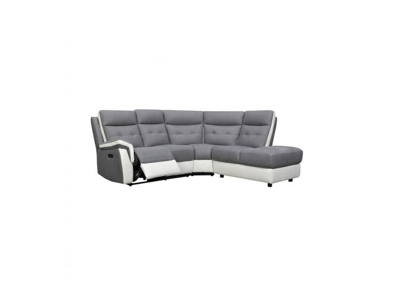 Canapé angle droit relax électrique 4 places gris blanc tissu - lerman