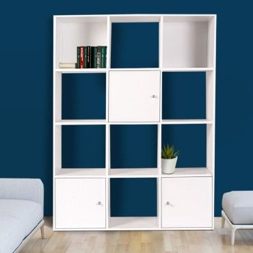 meuble de rangement cube 12 cases bois blanc avec 3 portes vente de id market conforama. Black Bedroom Furniture Sets. Home Design Ideas