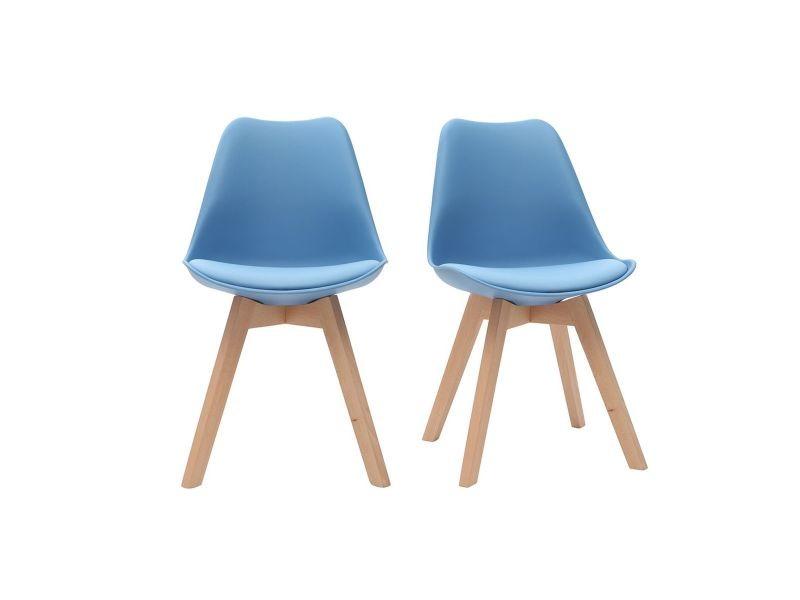 Chaises Design Bleu Ciel Avec Pieds Bois Clair Lot De 2 Pauline
