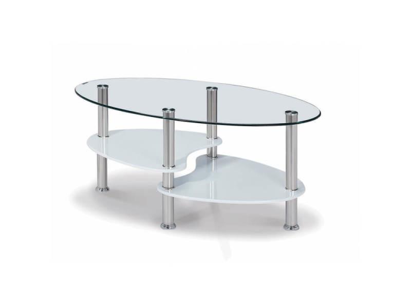 Table basse design ovale en verre/mdf blanc laqué konie