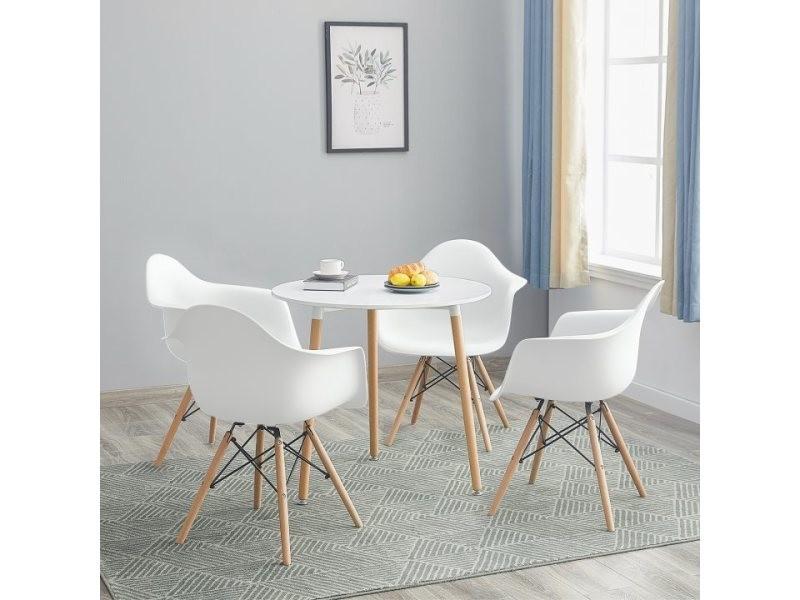 Table à manger ronde de 2 à 4 personnes blanc scandinave en bois hêtre massif +lot de 4 blanc chaise