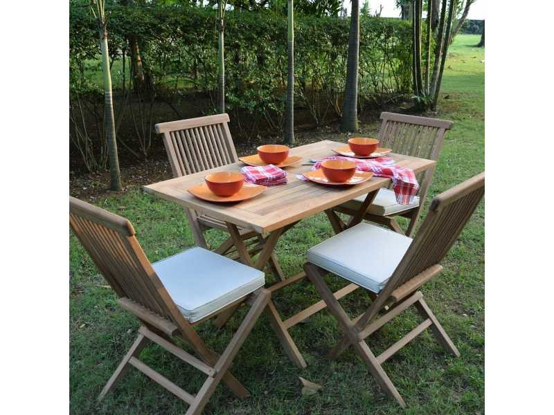 Salon de jardin en teck ecograde makassar, table pliante 120 x 70 cm ...