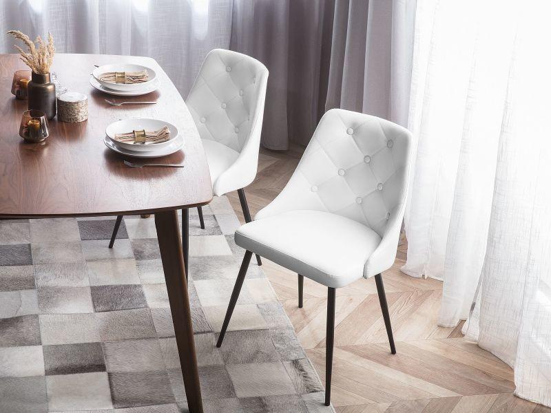 Lot de 2 chaises en simili-cuir blanc valerie 109919