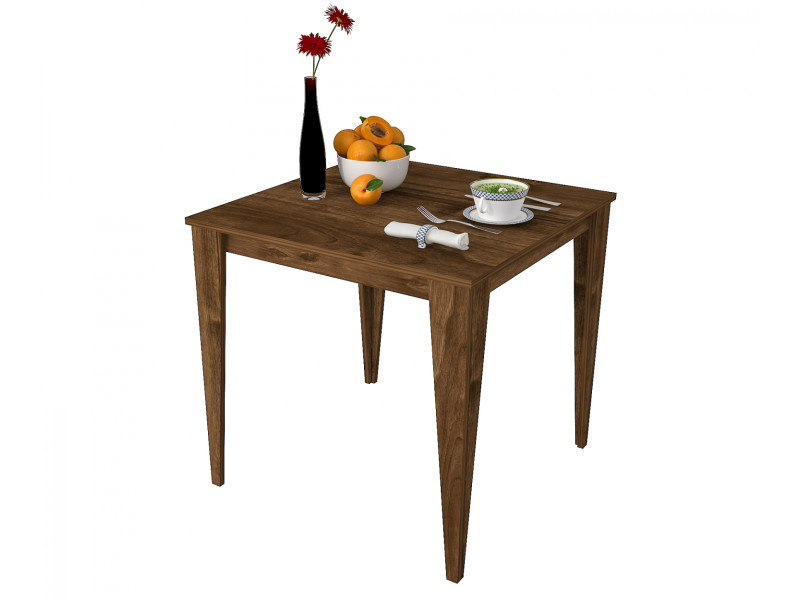 Table De Cuisine Yenice Carre 80x80cm Design Motif Noyer Vente