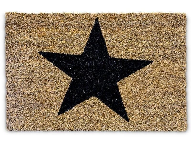 Paillasson tapis porte d'entrée essuie-pieds fibre de coco nature 60 x 40 cm helloshop26 2013021