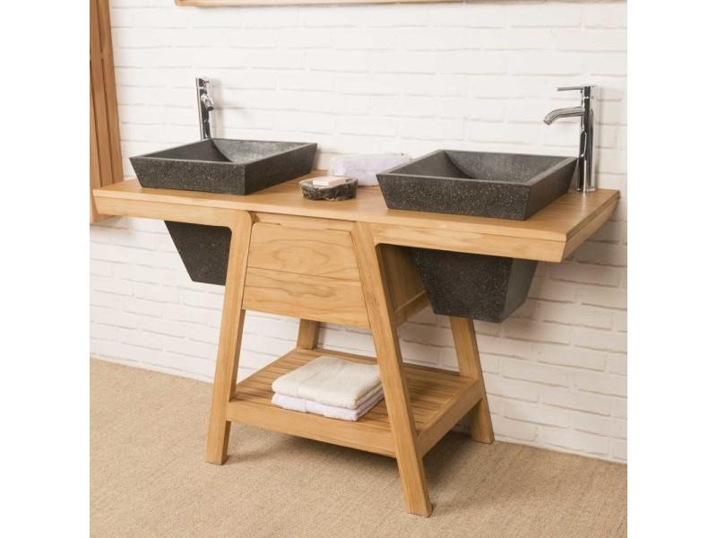 meuble sous vasque en teck khops 140 cm - Meuble Sous Vasque 140 Cm