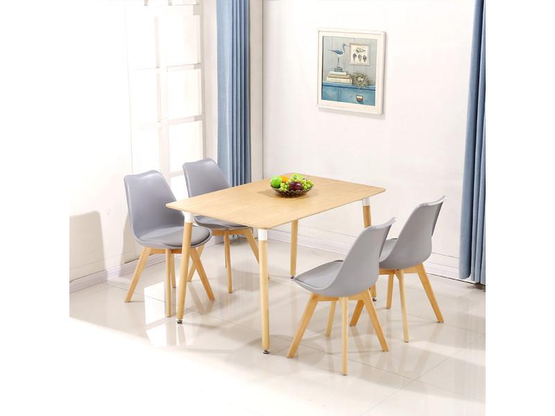 Hombuy® ensemble de table à manger rectangulaire couleur bois et 4 chaises scandinaves grises claires pour salle à manger, cuisine, salon, bureau