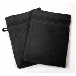 Lot de 2 gants de toilette 15 x 21 cm noir