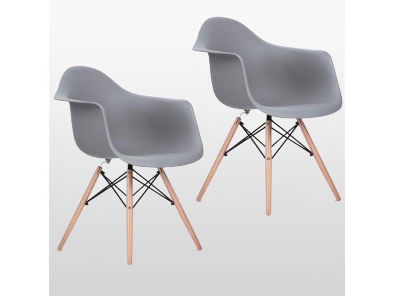 Lot de 2 chaises style scandinaves grises ajie