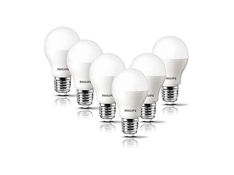 Philips lot de 6 ampoules led standard culot e27, 8w équivalent 60w, blanc chaud 2700k, dépolie