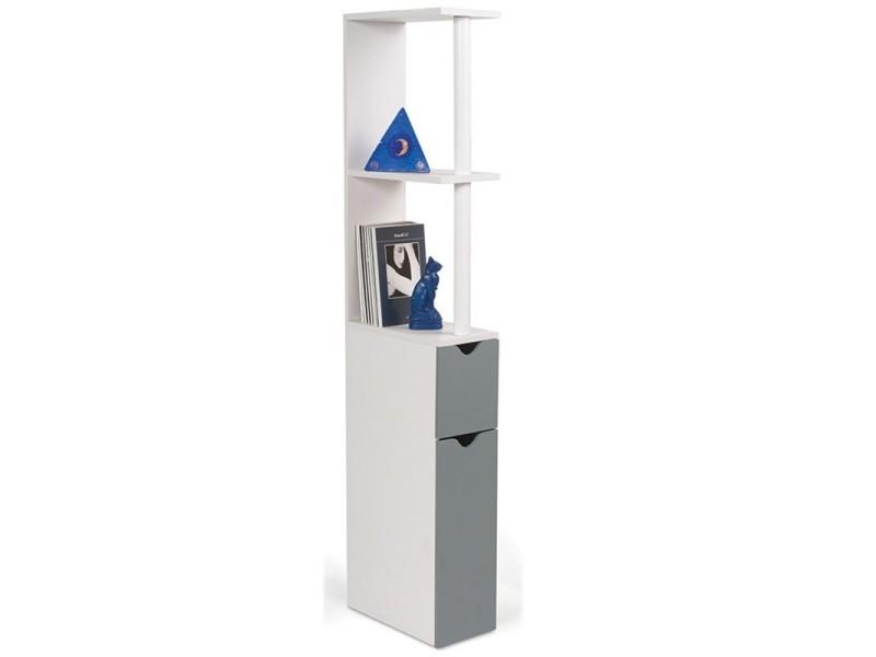Meuble wc tag re bois gain de place pour toilette 2 portes grises vente de id market conforama - Toilette gain de place ...