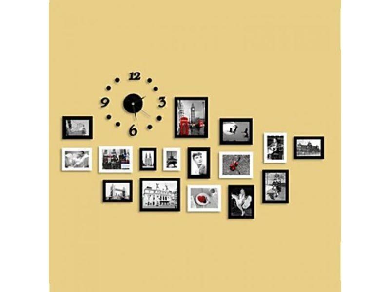 Ensemble De 16 Cadres Photos De Style Moderne En Bois Noir Et Blanc