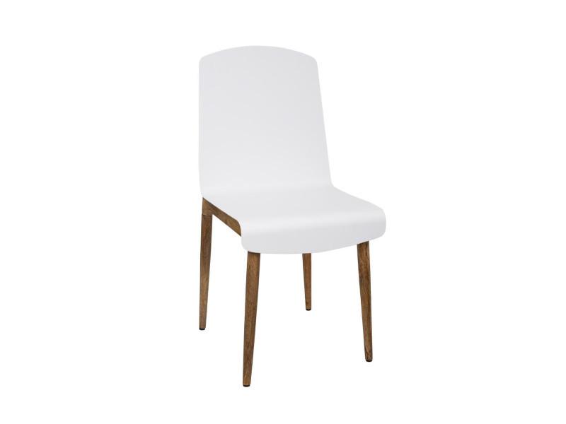 Atmosphera - chaise de salle à manger en bois de manguier et acier blanc h 87.5 cm
