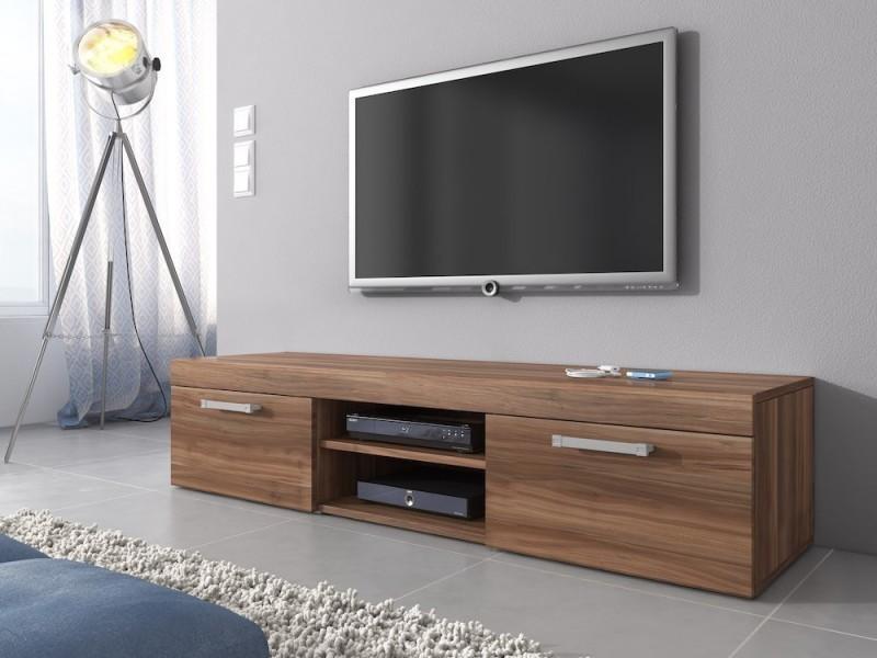 Meuble tv 160 cm en mdf finition prunier mat