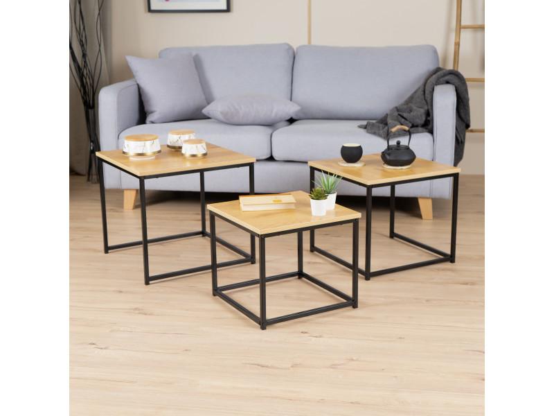 3 tables basses carrées gigognes bois noyer design industriel