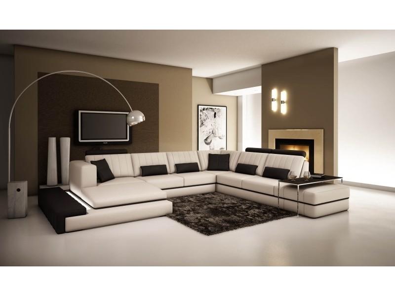 Canapé d'angle panoramique cuir blanc et noir castle-