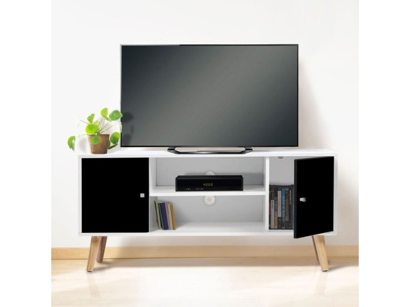meuble tv effie scandinave bois blanc et noir vente de. Black Bedroom Furniture Sets. Home Design Ideas