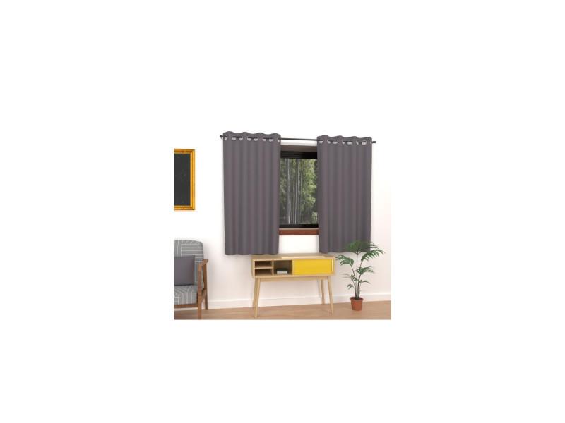 Rideau uni à oeillets alix - 135 x 180 cm - gris foncé