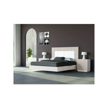 lit complet 2 chevets 2 tiroirs cuba i 180 cm laqu vison cadre ext rieur moka io 19356. Black Bedroom Furniture Sets. Home Design Ideas