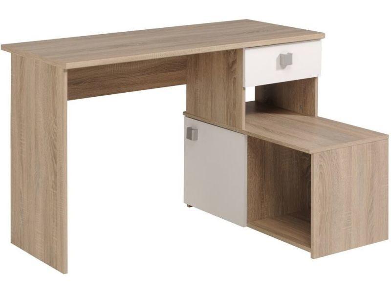 Table bureau design double fonction coloris chêne brut et blanc p